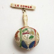 SALE Carved and Painted Celluloid Maraca