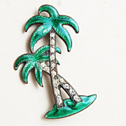 SALE Fire Enameled Palm Trees With Rhinestones - Brooch