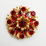 SALE Red Rhinestone Brooch - Fabulous!