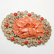 SALE Celluloid and Faux Pearl Brooch - Excellent Condition