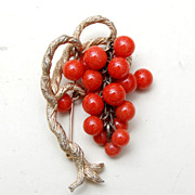 SALE Twisted Grape Vine Brooch With Dangling Coral Colored Glass Beads