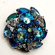 SALE Blue Rivoli or Margarita Stone and Molded Glass Stone Brooch