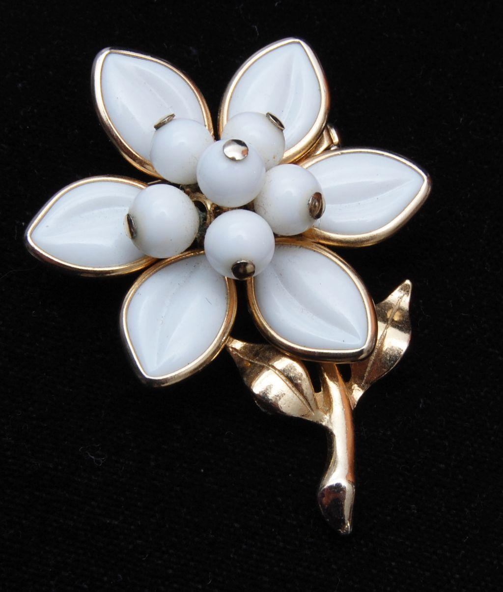 Milk Glass - Poured Glass Molded Glass Flower Brooch