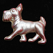 Pearlized Pink Lucite Dog Figural Brooch