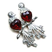 SALE Pot Metal Love Birds Brooch with Red Heart Rhinestone Bellys