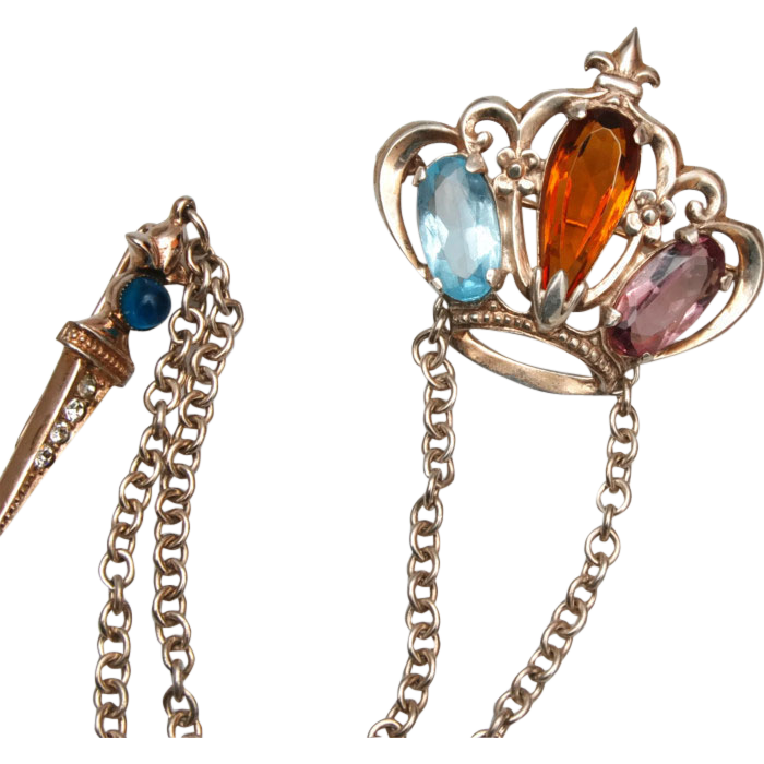 Sterling Crown and Scepter Brooch