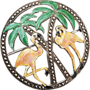 Sterling, Enamel and Marcasite Flamingos and Palm Trees Brooch