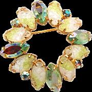 SALE Green Lava Glass Brooch
