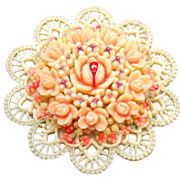 SALE Molded Celluloid Died Flower Brooch