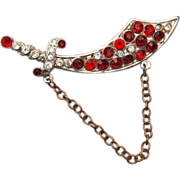 SALE Red Rhinestone Sword Brooch