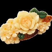 Celluloid Basket of Flowers Brooch Signed Japan
