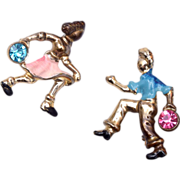 SALE Figural Bowler Pins - Man and Woman