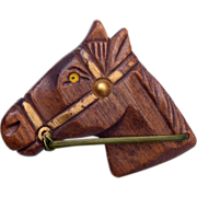 SALE Carved Wooden Horse Head Brooch