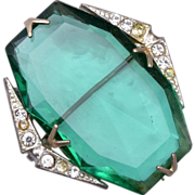 Faceted Green Crystal Brooch