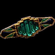SALE Art Deco Green Step Glass Brooch
