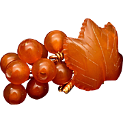 SALE Amber Grape Leaf and Grapes Brooch