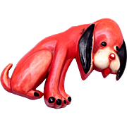 SALE 1945 Nicholas Barbieri for Uncas Celluloid Dog Brooch