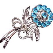 Aqua Stone Flower Brooch – Awesome Condition