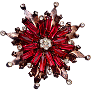SALE Sterling 1940's Red Prong Set Rhinestone Brooch