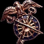 SALE Trifari Sterling 1940's Eagle and Sword Patriotic Brooch