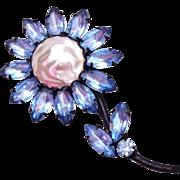 SALE Light Blue Rhinestone and Faux Pearl Flower Brooch