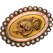 SALE Victorian Grape Design and Seed Pearl Brooch