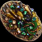 SALE Green Art Glass Brooch - Very Well Made