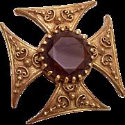 SALE Maltese Cross With Faceted Brown Rhinestone Brooch