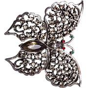 SALE Black Diamond Butterfly Brooch