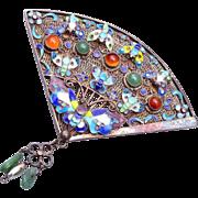 SALE Sterling Chinese Filigree Enameled Butterfly Fan Brooch