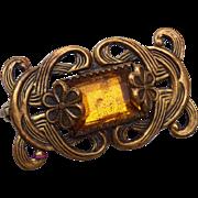 Topaz and Brass Brooch