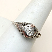 SALE 18kt Gold Diamond and Filigree Art Deco Ring Size 8-1/2