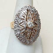 14kt Gold Ring With 2kts of Diamonds Size 8-1/2