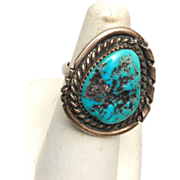 SALE Large Turquoise Stone Sterling Ring - 6-3/4