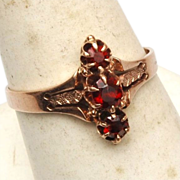SALE Victorian 14kt Gold and 3 Garnet Ring - 7-3/4