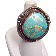 SALE Large Turquoise and Sterling Ring Size 7-1/4