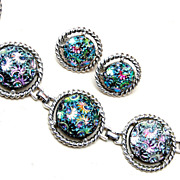 SALE Molded AB Glass Bracelet and Earring Set