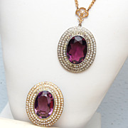 Open Back Purple Faceted Crystal Brooch and Necklace Set