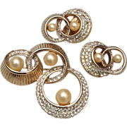 SALE Jomaz Faux Pearl and Rhinestone Brooch and Earring Set