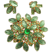 Green Lava Stone Brooch and Earring Set