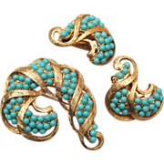 Turquoise Ball Brooch and Earring Set