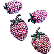 SALE Weiss AB Strawberry Brooch and Earring Set
