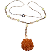 SALE Bakelite Rose and Celluloid Chain Necklace