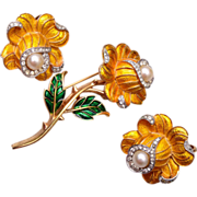 Trifari Yellow Enameled Flower Brooch and Earring Set