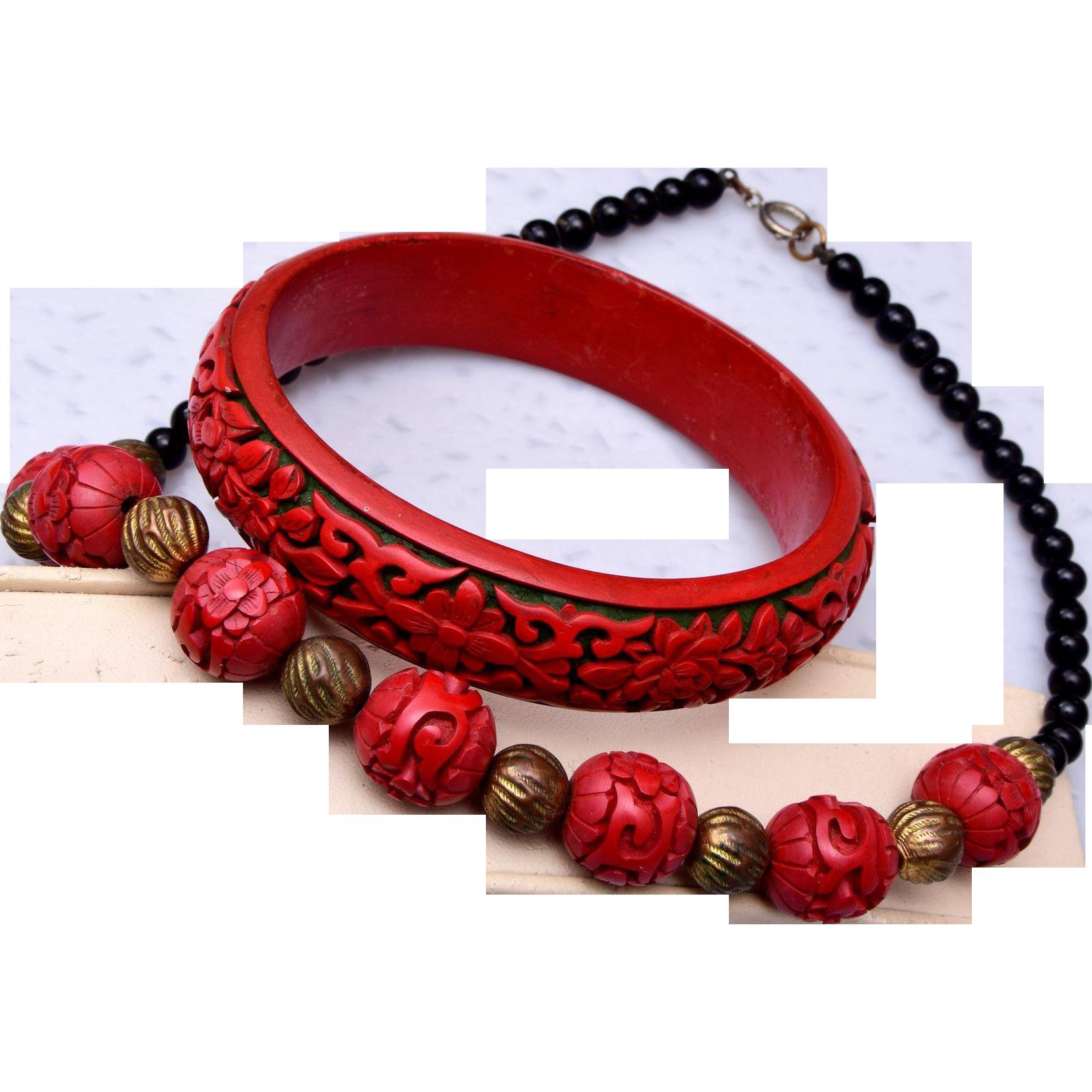 cinnabar bracelet and necklace set