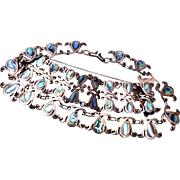 SALE Sterling Made in Mexico Abalone Shell Necklace and Bracelet Set