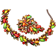 SALE Fabulous ART Autumn Leaves Brooch and Necklace Set