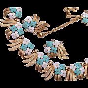 SALE 1960's Trifari Molded Plastic Leaf Necklace & Earrings
