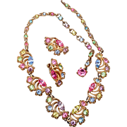 SALE Bogoff Pastel Rhinestone Necklace and Earrings Set