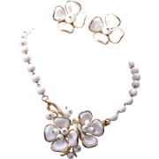 SALE Pre 1955 Trifari Milk Glass Flower Necklace and Earring Set